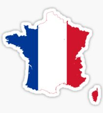 Flag Map of France  Sticker