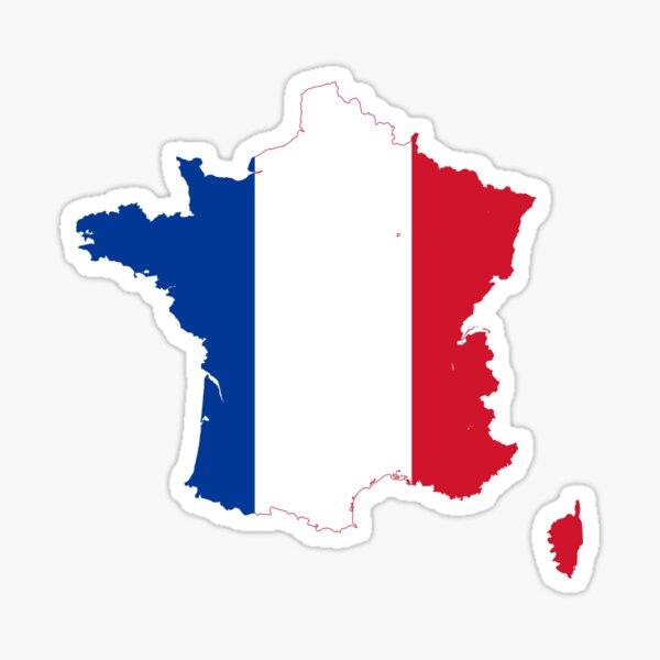 Flag Map of France  Sticker