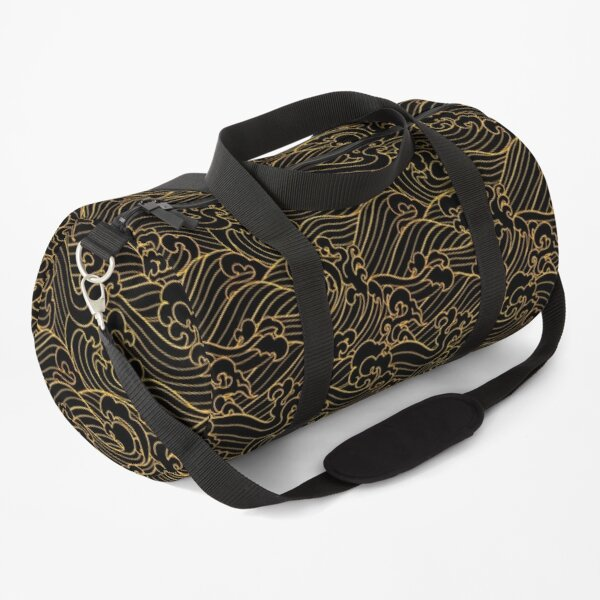 Golden Waves In Black Duffle Bag