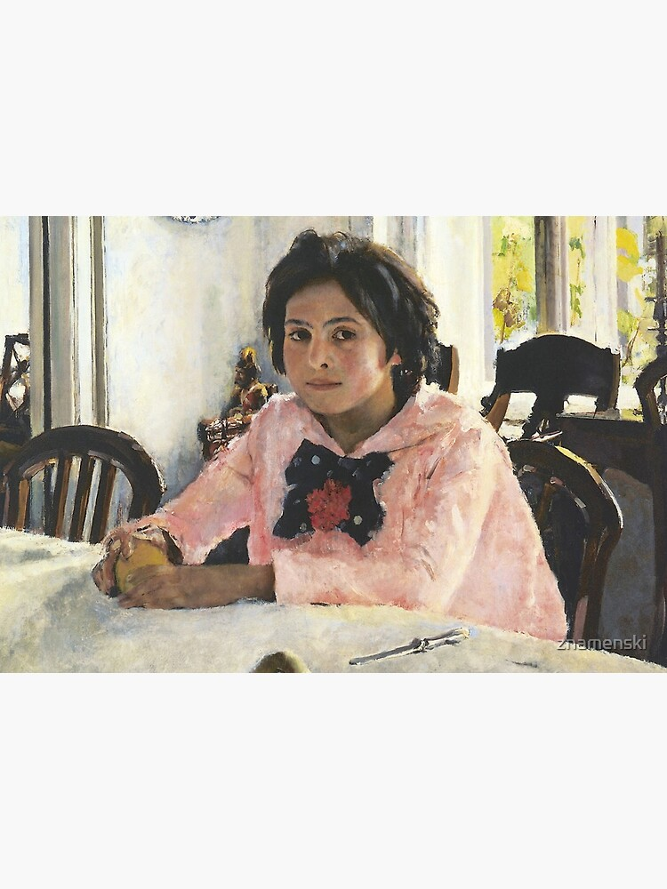 Girl with Peaches, 1887, Valentin Alexandrovich Serov was a Russian painter, and one of the premier portrait artists of his era by znamenski