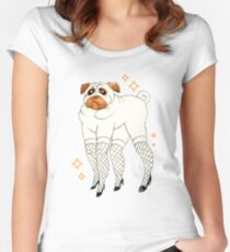 Pug With Lady Legs Women's Fitted Scoop T-Shirt