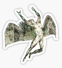 ICARUS THROWS THE HORNS - antique grunge Sticker