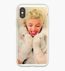 Vinilo o funda para iPhone Marilyn Monroe White Xmas case