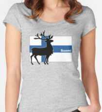 Suomi: Finnish Flag and Reindeer Women's Fitted Scoop T-Shirt