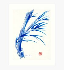 """""""Wind""""  blue sumi-e ink wash painting Art Print"""