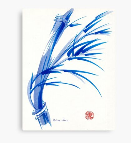 """""""Wind""""  blue sumi-e ink wash painting Canvas Print"""