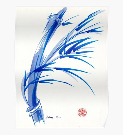 """""""Wind""""  blue sumi-e ink wash painting Poster"""