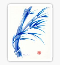 """Wind""  blue sumi-e ink wash painting Sticker"