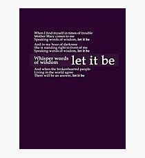 Beatles - Let It Be Lyrics Photographic Print