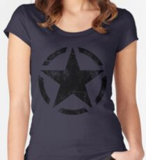 Star Stencil Vintage Decal Grunge Style Women's Fitted Scoop T-Shirt