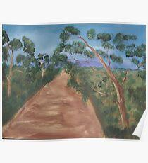 Gum trees along a dirt road. Poster