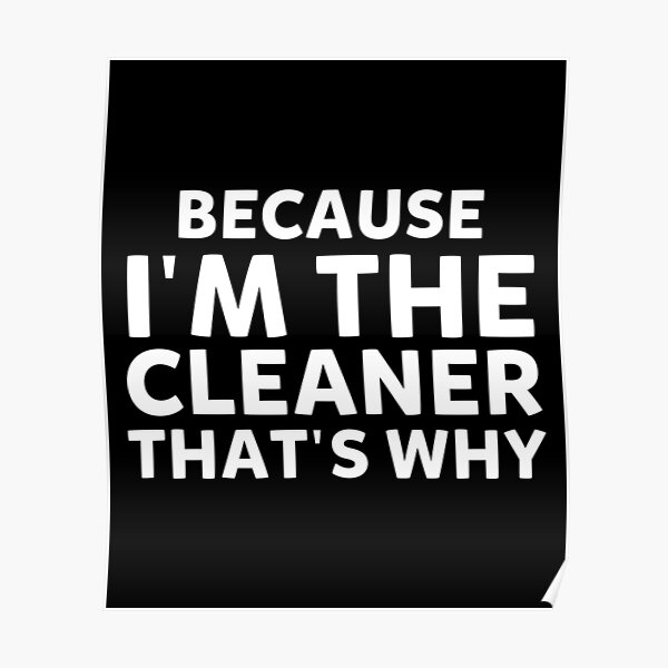 Because I'm The Cleaner That's Why Funny House Cleaning Poster