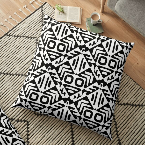 Modern Geometric Abstract Black White Pattern Design 779 Floor Pillow