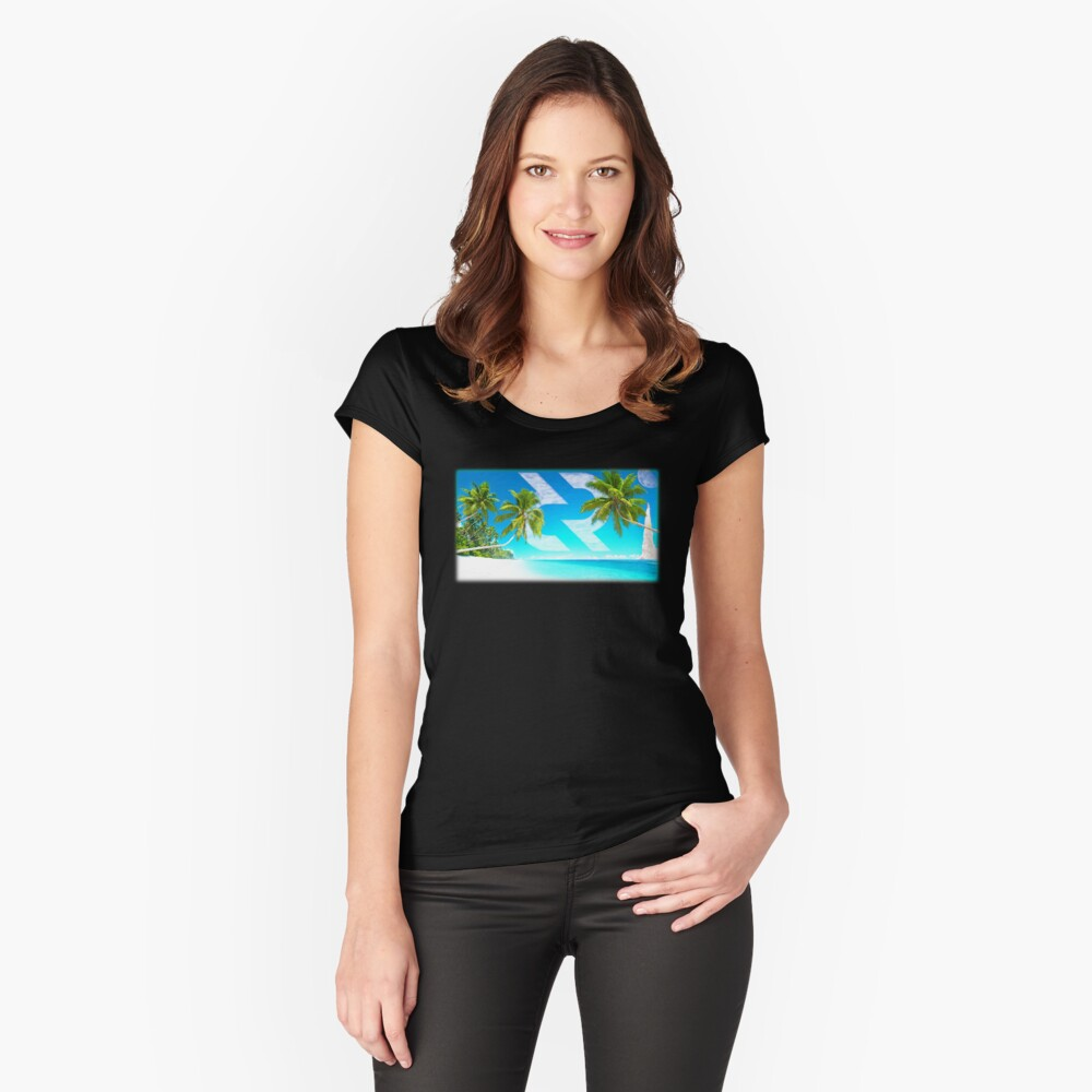 Decred moon mission beach Fitted Scoop T-Shirt