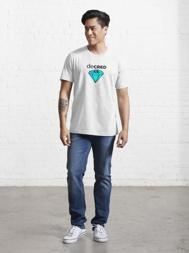 Alternate view of Decred gem ™ v2 'Design timestamped by https://timestamp.decred.org/' Essential T-Shirt