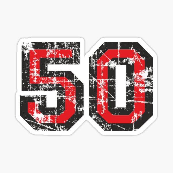 Number 50 Vintage 50th Birthday Anniversary Sticker
