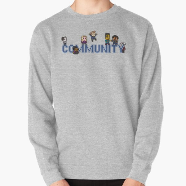 Community Logo with Characters Pullover Sweatshirt