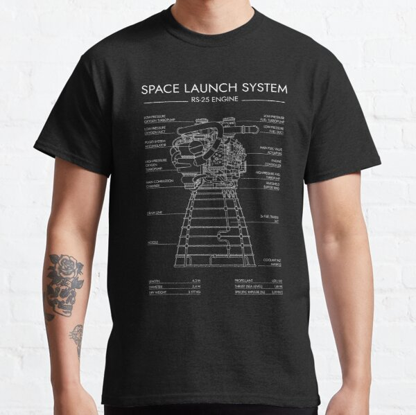 RS-25 Engine. Space Launch System (SLS) (White Stencil - No Background) Classic T-Shirt