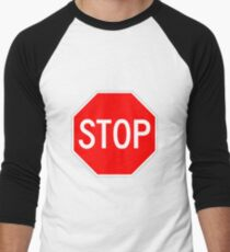 STOP original sign sticker Men's Baseball ¾ T-Shirt