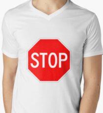 STOP original sign sticker Men's V-Neck T-Shirt