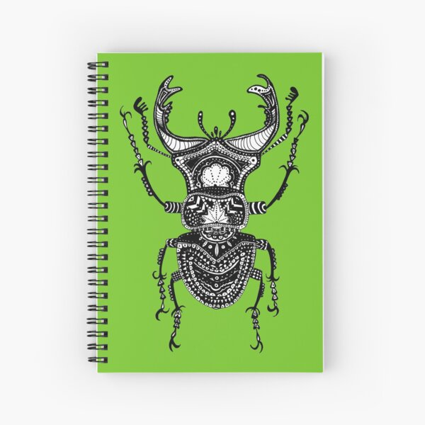 Green Stag Beetle Spiral Notebook