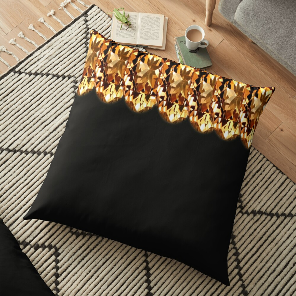 Gorgeous-Gold top design and black print  Floor Pillow