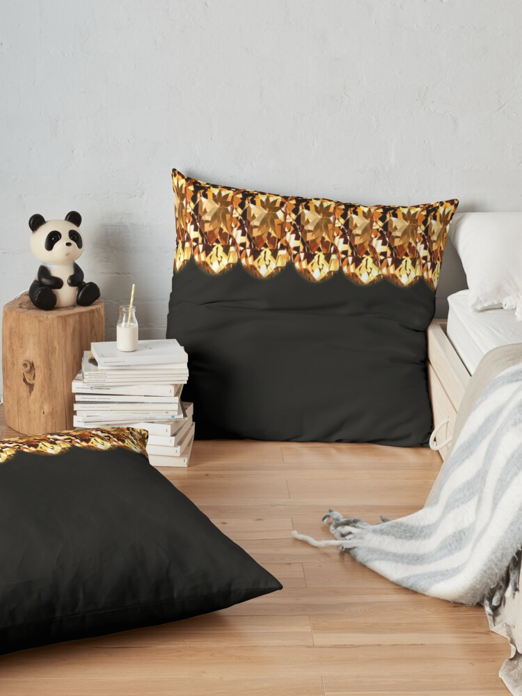Alternate view of Gorgeous-Gold top design and black print  Floor Pillow