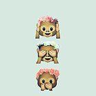 see no evil monkey emoji hipster flower crown tumblr by alyciathefox