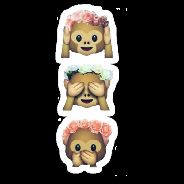 see no evil monkey emoji hipster flower crown tumblr sticker von alyciathefox redbubble. Black Bedroom Furniture Sets. Home Design Ideas