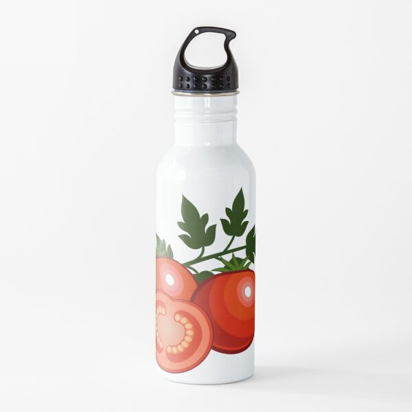 Drawn ripe red tomatoes. Water Bottle