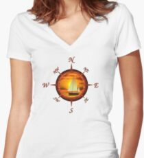 Sailboat And Compass Women's Fitted V-Neck T-Shirt