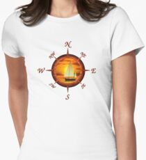 Sailboat And Compass Womens Fitted T-Shirt