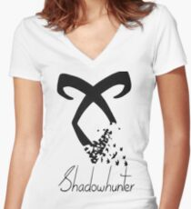 Shadowhunter symbol Women's Fitted V-Neck T-Shirt