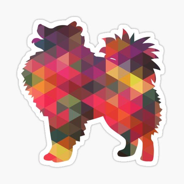 American Eskimo Dog Colorful Geometric Silhouette - Multi Sticker