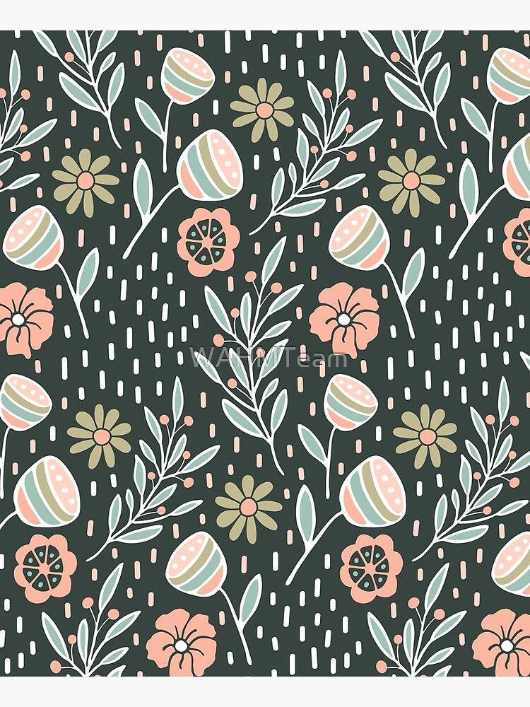 Pink Floral Pattern with Dark Background by WAHMTeam