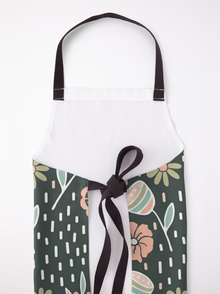 Alternate view of Pink Floral Pattern with Dark Background Apron
