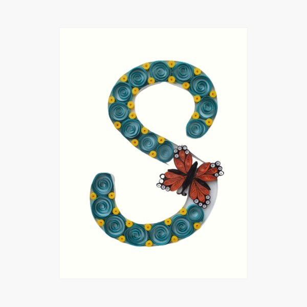 Paper Quilling S Monogram With Butterfly Art Print