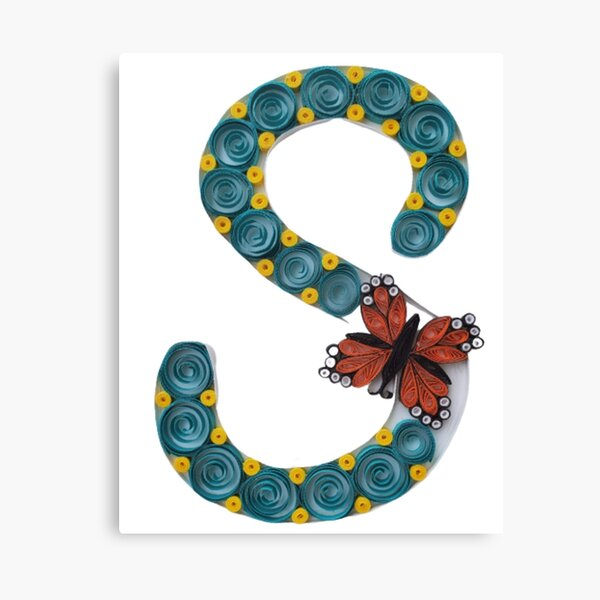 Paper Quilling S Monogram With Butterfly Canvas Print