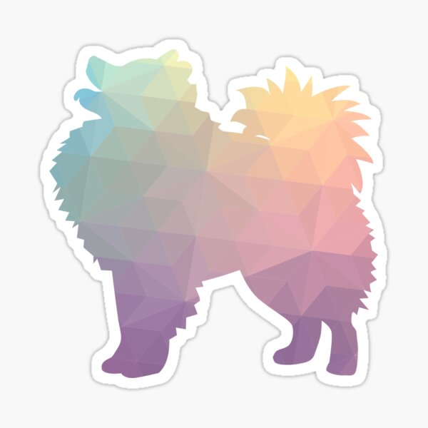 American Eskimo Dog  Eskie Colorful Geometric Silhouette - Pastel Sticker