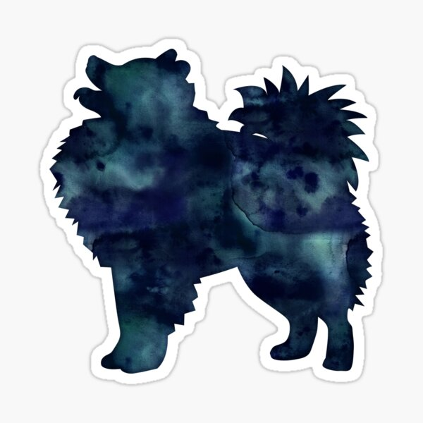 American Eskimo Dog - Eskie -  Black Watercolor Silhouette Sticker
