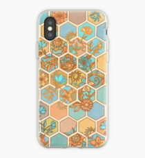 Golden Honeycomb Tangle - hexagon doodle in peach, blue, mint & cream iPhone Case