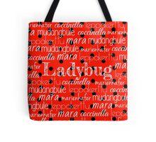 Ladybug Print Typography Tote Bag