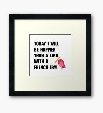 Bird With French Fry Framed Print