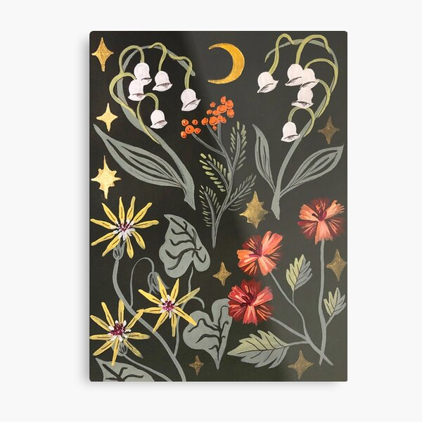 Night Florals Metal Print