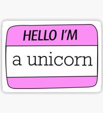 Hello I'm a Unicorn name tag Sticker