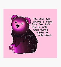 """You don't have to smile"" Galaxy Bear Photographic Print"