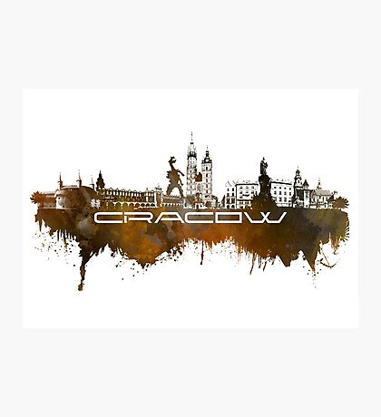Cracow skyline city brown Photographic Print