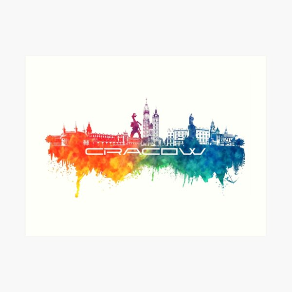 Cracow skyline city color Art Print