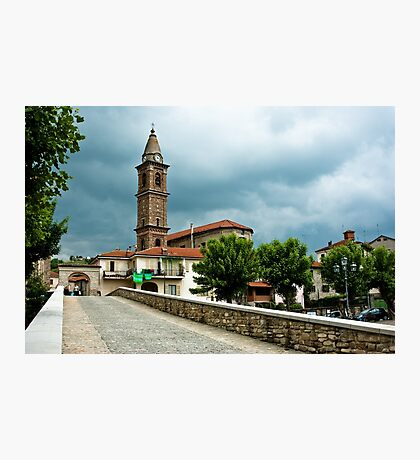 Dark clouds over Monastero Bormida Photographic Print