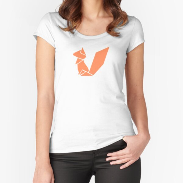 Origami Squirrel illustration Fitted Scoop T-Shirt